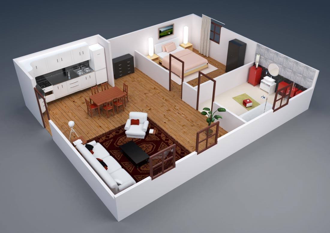 création d'illustration 3D de plan d'appartement en coupe à rennes